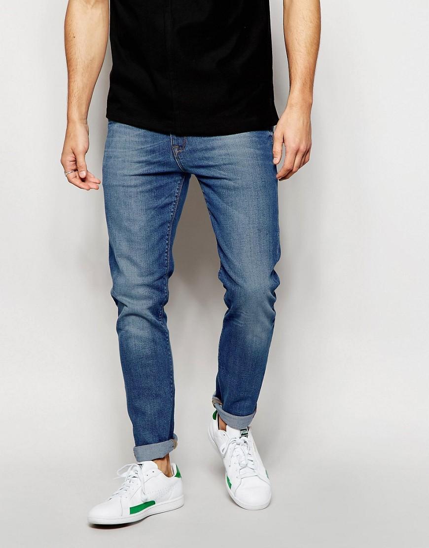 شلوار جین skinny سرمه ای مردانه
