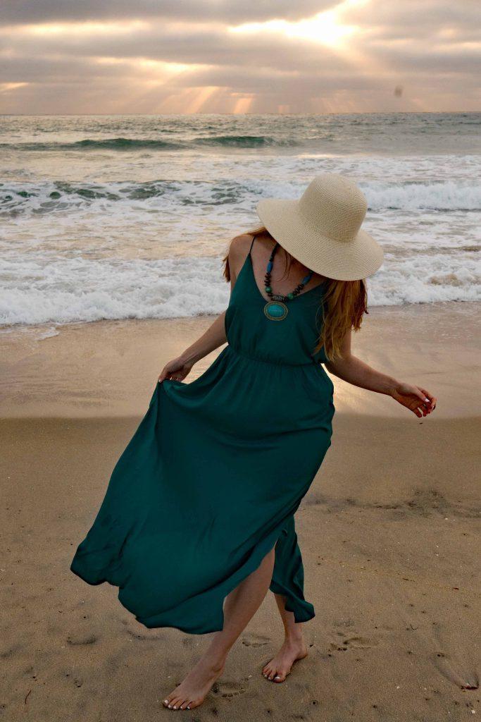 پیراهن ماکسی ساحلی زنانه سبز یشمی