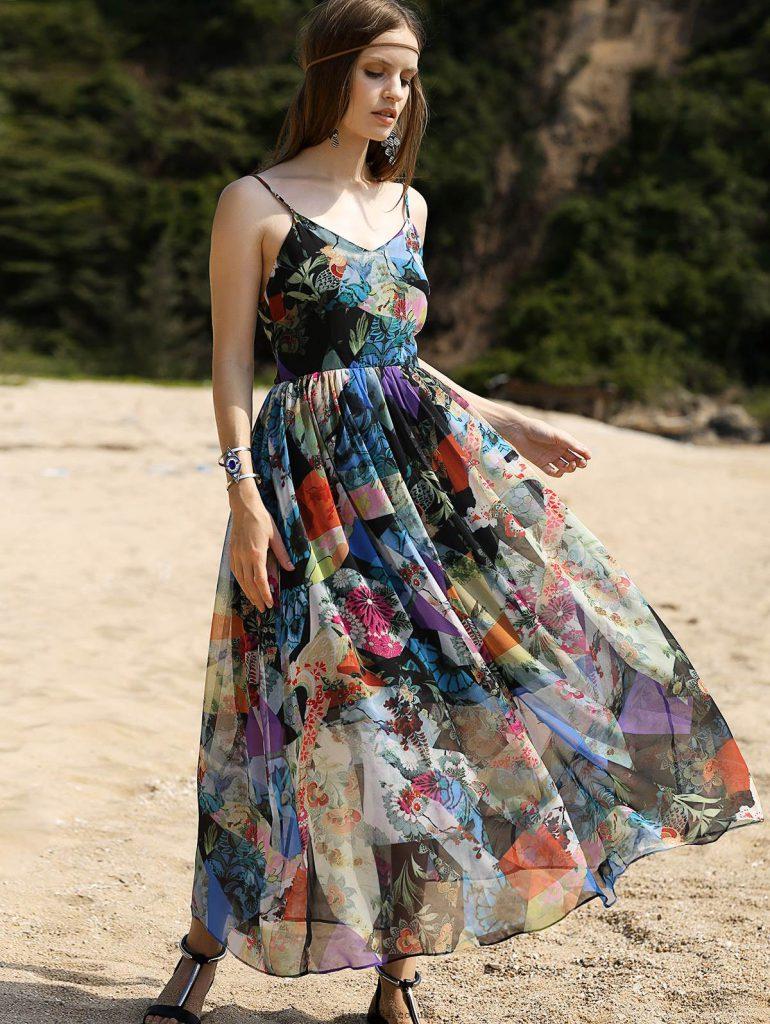 پیراهن گل گلی ماکسی زنانه ساحلی