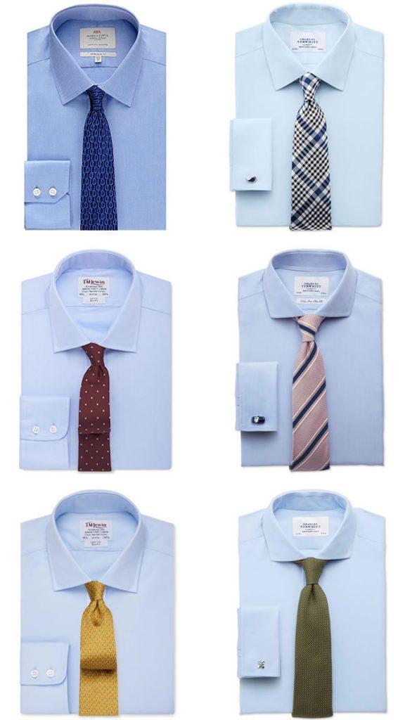 ست کردن پیراهن ابی با کراوات